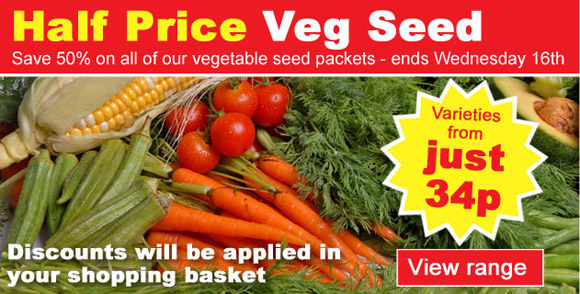 50% OFF ALL VEGETABLE SEEDS
