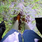Wellies in the water